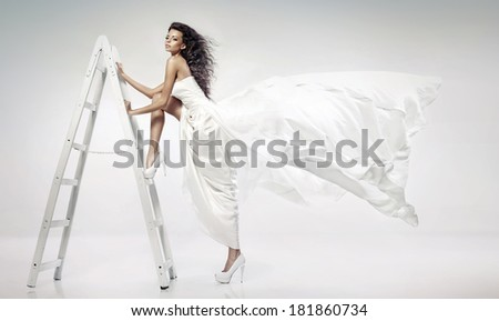 Woman on Steps Ladder - stock photo
