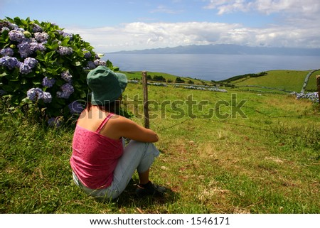 woman on the azores fields