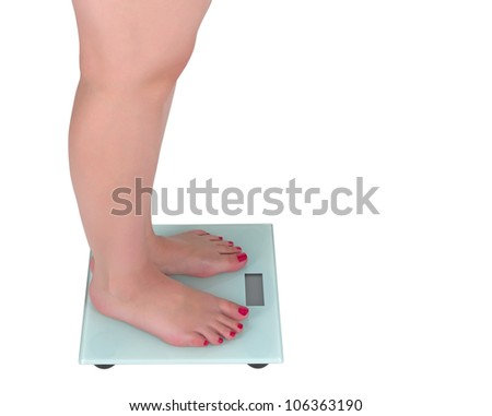 Woman on the digital scale with display, white background