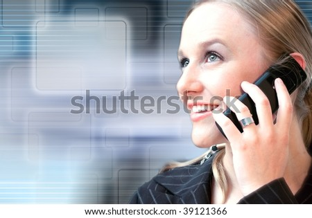 woman on the phone choosing options - stock photo
