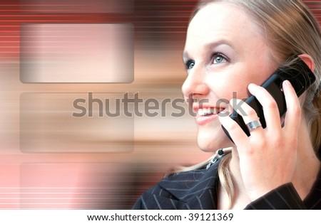 woman on the phone high tech