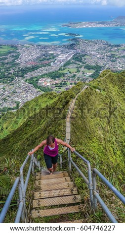 Woman on the Stairway to Heaven, Oahu, Hawaii, USA
