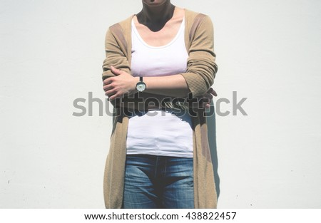 Woman on white background #438822457