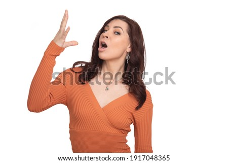 woman on white background makes gesture with hands