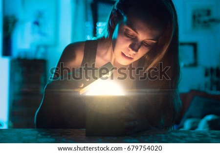 Woman open gift or present with light, christmas, birthday
