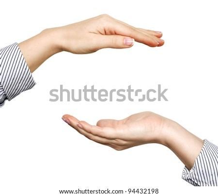 woman open hands isolated on white background