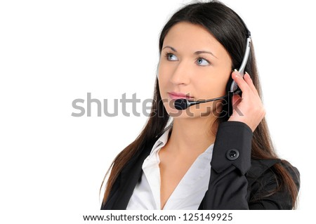 Woman operator with headset on white background