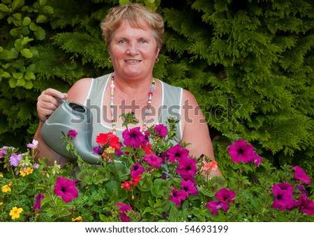 woman outside working in garden