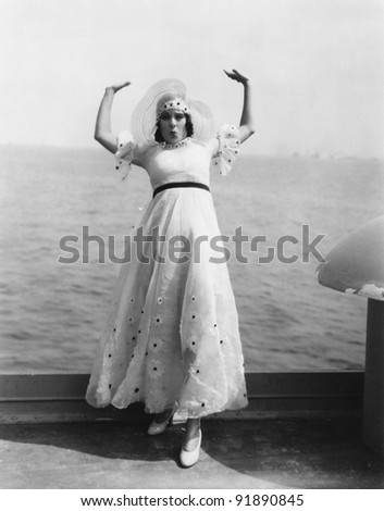 Woman overboard - stock photo