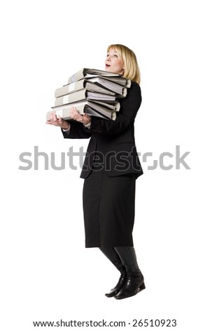 Woman overloaded with work - stock photo
