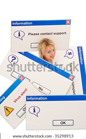Woman overrun by tech problems - information technology concept, isolated