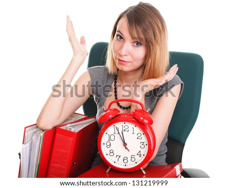 woman Overworked businesswoman holding plenty of documents isolated white red folder timeer time