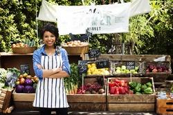 Woman owner fresh grocery organic shop