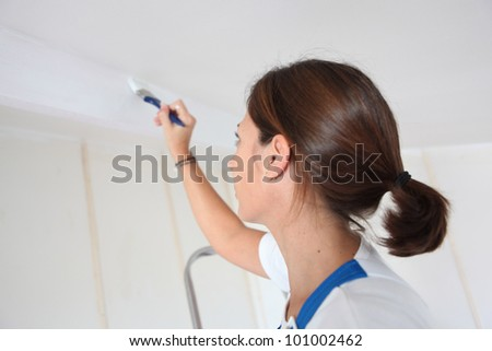 Woman painting a wall - stock photo