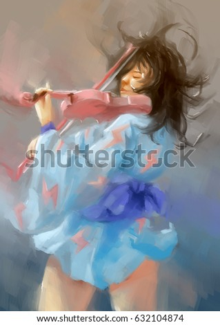 Stock Photo woman painting violin