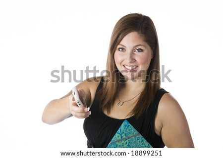 Woman passing a Blackberry cellphone isolated against white