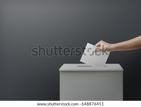 Woman person vote with ballot box on blank voting concept.