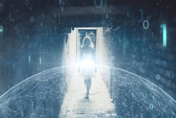Woman person walks on street underpass with futuristic computer binary numbers cyberspace background.