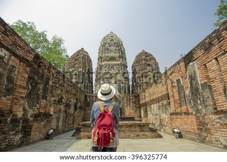 Woman photo in the old temple in Thailand (this is old temple more than 800 years old and can take picture for sale)