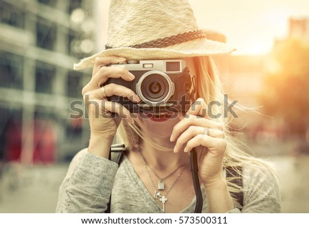 woman photographer. young...