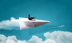 Woman pilot in paper plane. Mixed media . Mixed media