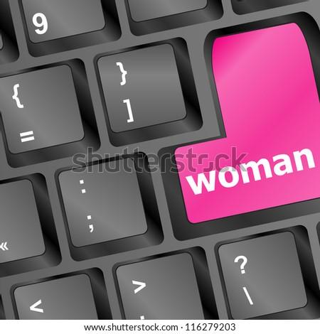 woman pink key on keyboard laptop computer - raster
