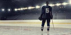 Woman play hockey   . Mixed media