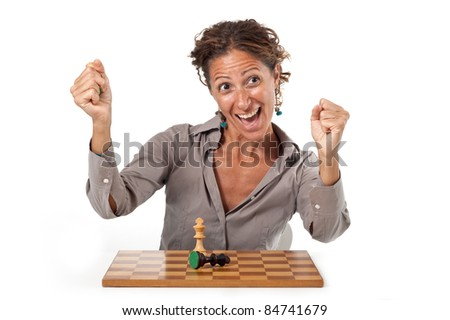 Woman playing chess. White background. Victory concept.