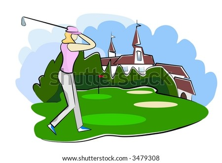 woman playing golf on golf course illustration