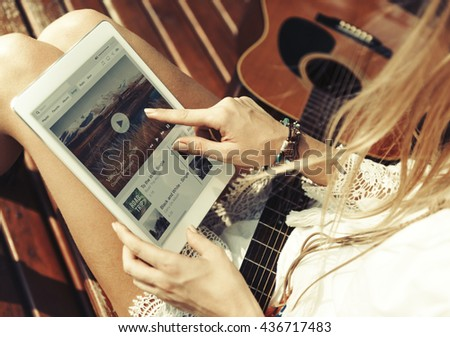 Woman Playing Song Tablet Music Beautiful Concept