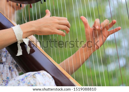 Woman playing the harp close up. Fingers playing the strings of a harp.