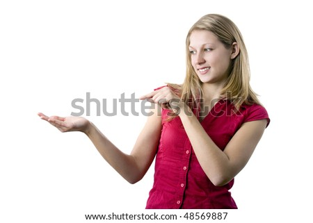 Woman point to something (place your product on her right hand), isolated on white background