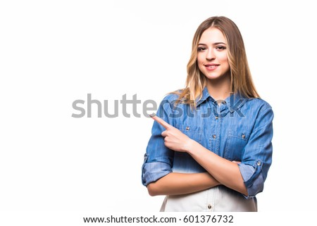 woman pointed side with a smile isolated on white background