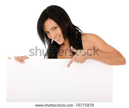 Woman pointing at a banner - isolated over a white background