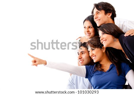 Woman pointing away and a group of people looking - isolated