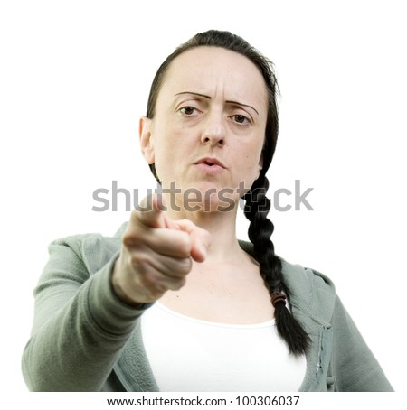 woman pointing looking angry on a white background