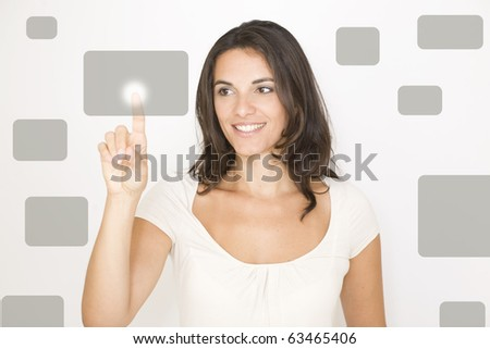 woman pointing on a virtual screen