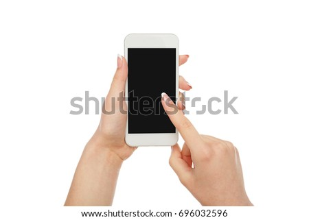 Woman pointing on mobile phone blank screen isolated on white background, close-up, cutout, copy space on the screen #696032596