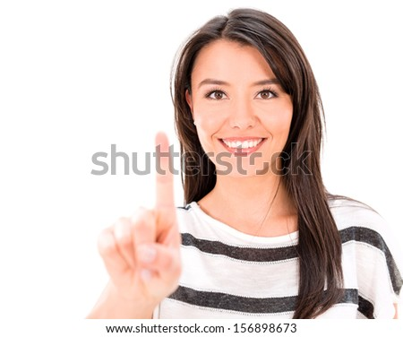 Woman pointing with her finger - isolated over a white background