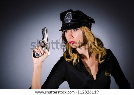 Woman police in the concept