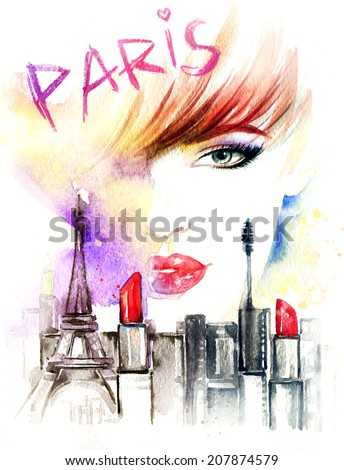 woman portrait abstract watercolor fashion background