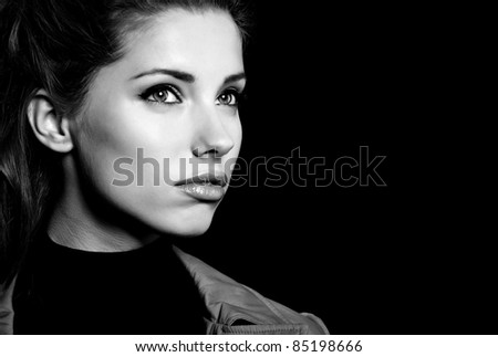 Woman portrait, black-and-white