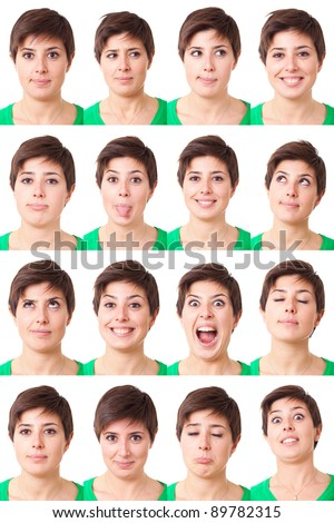 Woman Portrait, Collection of Expressions