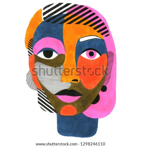 Woman portrait in modern abstract style. Hand drawn raster illustration for your contemporary fashion design.