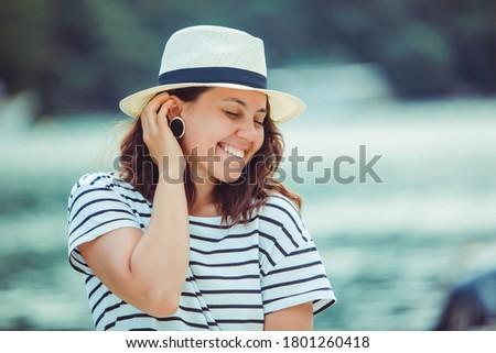 woman portrait in white fedora hat Stock photo ©