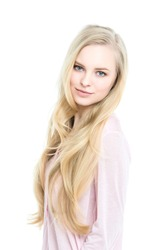 Woman. Portrait of a beautiful blonde isolated on white.