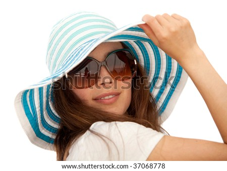Woman portrait with a hat isolated over white