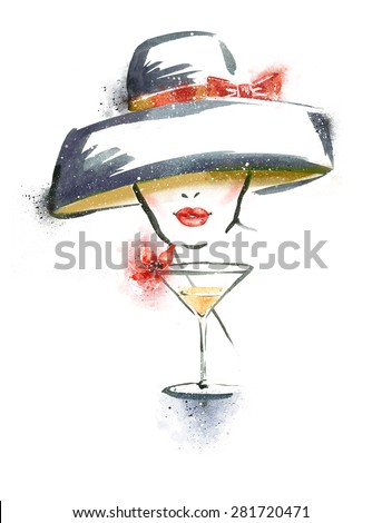 Woman portrait with hat and cocktail.Abstract watercolor .Fashion illustration.Red lips.Party invitation.Cocktail party.