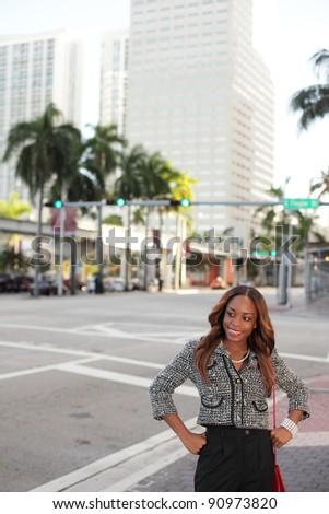 Woman posing at Downtown Miami