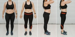 Woman posing before and after weight loss diet. Diet weight loss transformation